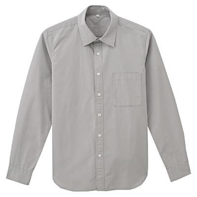 オーガニックコットンブロードシャツ 紳士S・ライトグレー