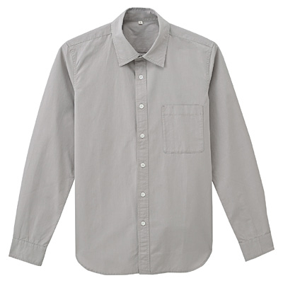 オーガニックコットンブロードシャツ 紳士L・ライトグレー