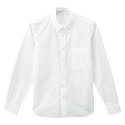 オーガニックコットンブロードボタンダウンシャツ 紳士L・オフ白