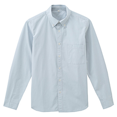 オーガニックコットンブロードボタンダウンシャツ 紳士S・ベビーブルー