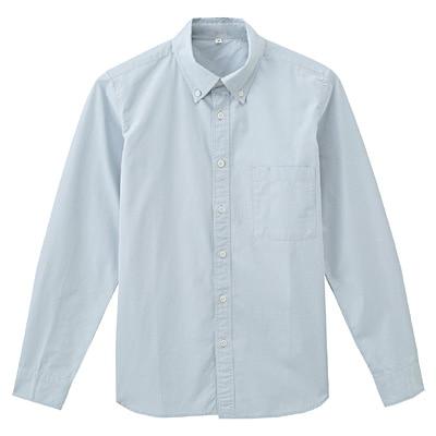 オーガニックコットンブロードボタンダウンシャツ 紳士L・ベビーブルー