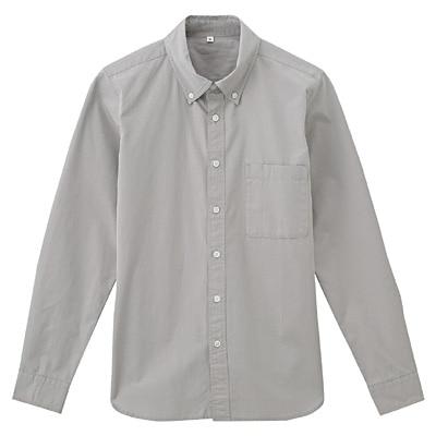オーガニックコットンブロードボタンダウンシャツ 紳士L・ライトグレー