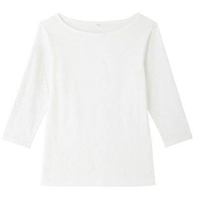オーガニックコットンストレッチボートネック七分袖Tシャツ 婦人・M・オフ白