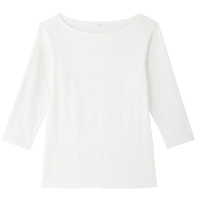オーガニックコットンストレッチボートネック七分袖Tシャツ 婦人・XL・オフ白