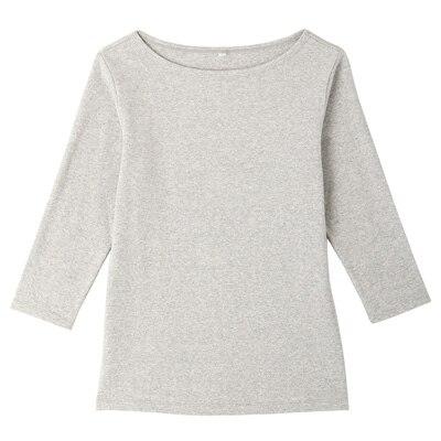 オーガニックコットンストレッチボートネック七分袖Tシャツ 婦人・XS・杢ライトグレー