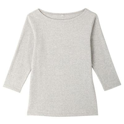 オーガニックコットンストレッチボートネック七分袖Tシャツ 婦人・L・杢ライトグレー