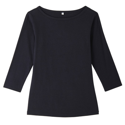 オーガニックコットンストレッチボートネック七分袖Tシャツ 婦人・S・紺
