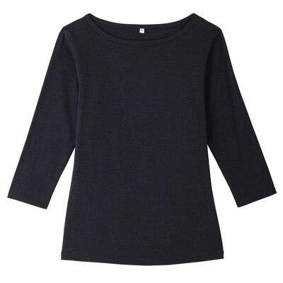 オーガニックコットンストレッチボートネック七分袖Tシャツ 婦人・M・紺