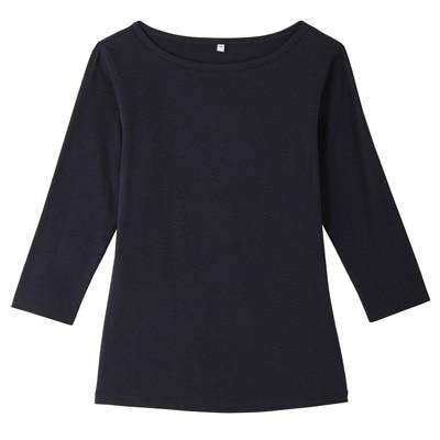 オーガニックコットンストレッチボートネック七分袖Tシャツ 婦人・L・紺