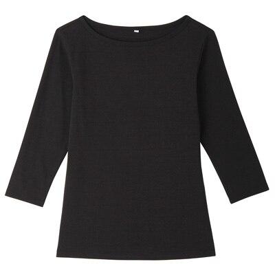 オーガニックコットンストレッチボートネック七分袖Tシャツ 婦人・M・黒