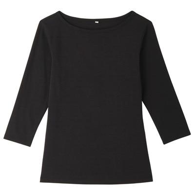 オーガニックコットンストレッチボートネック七分袖Tシャツ 婦人・L・黒