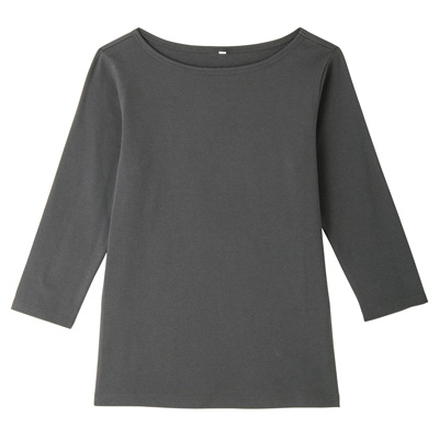 オーガニックコットンストレッチボートネック七分袖Tシャツ 婦人S・チャコールグレー