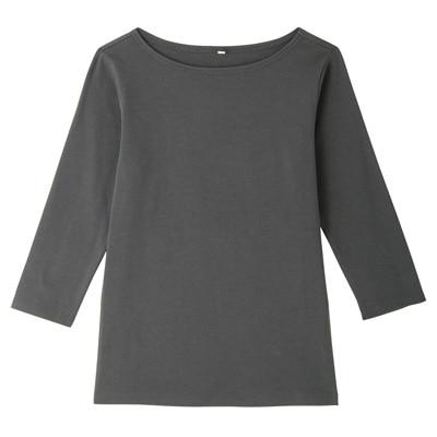 オーガニックコットンストレッチボートネック七分袖Tシャツ 婦人L・チャコールグレー