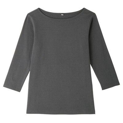 オーガニックコットンストレッチボートネック七分袖Tシャツ 婦人XL・チャコールグレー