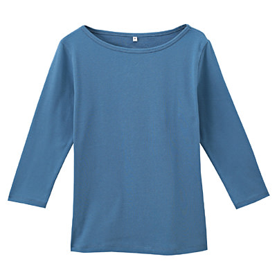 オーガニックコットンストレッチボートネック七分袖Tシャツ 婦人S・ブルー