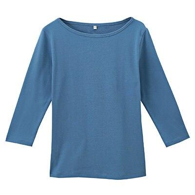 オーガニックコットンストレッチボートネック七分袖Tシャツ 婦人M・ブルー