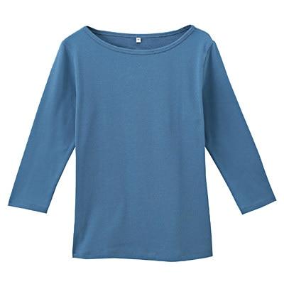 オーガニックコットンストレッチボートネック七分袖Tシャツ 婦人L・ブルー