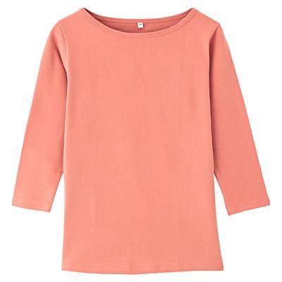 オーガニックコットンストレッチボートネック七分袖Tシャツ 婦人XS・スモーキーピンク