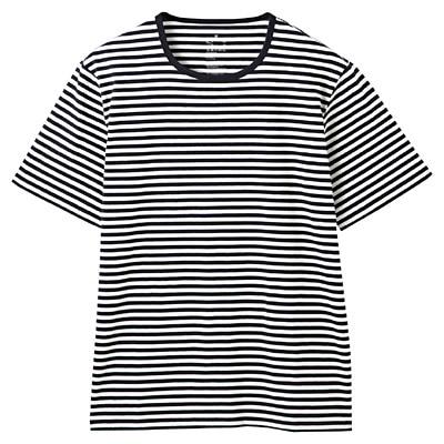 オーガニックコットン天竺ボーダー半袖Tシャツ 紳士XL・オフ白