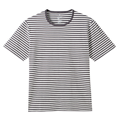 オーガニックコットン天竺ボーダー半袖Tシャツ 紳士XL・ダークグレー