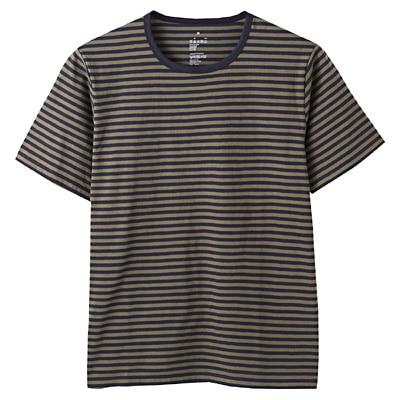 オーガニックコットン天竺ボーダー半袖Tシャツ 紳士XL・カーキグリーン