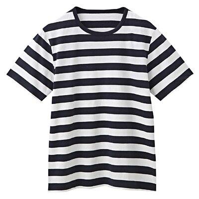 オーガニックコットン天竺ボーダー半袖Tシャツ 紳士M・オフ白×柄