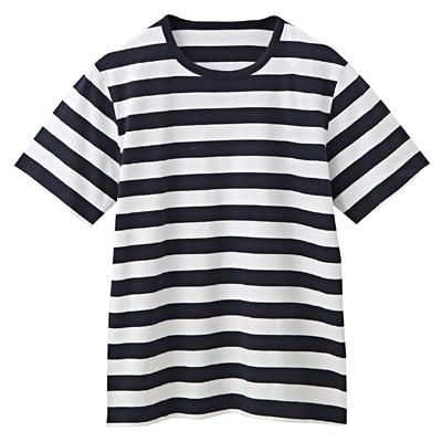 オーガニックコットン天竺ボーダー半袖Tシャツ 紳士L・オフ白×柄