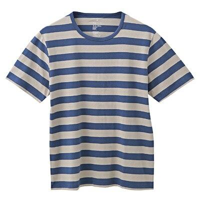オーガニックコットン天竺ボーダー半袖Tシャツ 紳士S・ライトグレー×柄