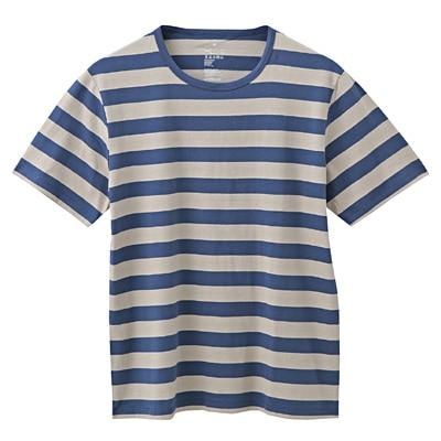 オーガニックコットン天竺ボーダー半袖Tシャツ 紳士XL・ライトグレー×柄