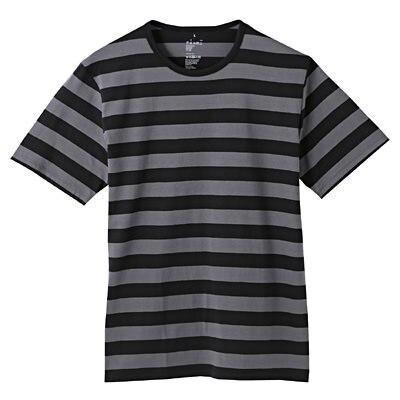 オーガニックコットン天竺ボーダー半袖Tシャツ 紳士M・ダークグレー×柄