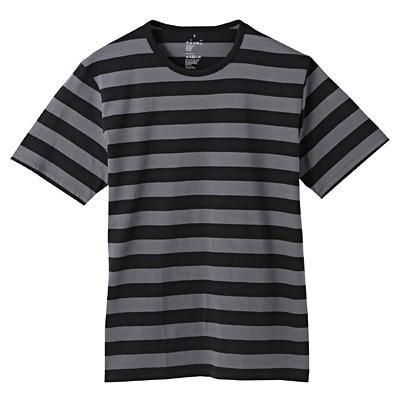 オーガニックコットン天竺ボーダー半袖Tシャツ 紳士XL・ダークグレー×柄