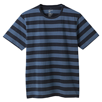 オーガニックコットン天竺ボーダー半袖Tシャツ 紳士M・ブルー×柄