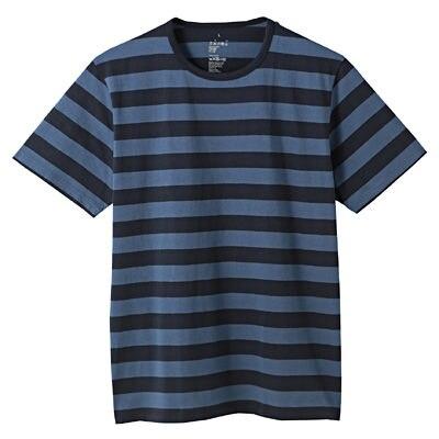 オーガニックコットン天竺ボーダー半袖Tシャツ 紳士L・ブルー×柄