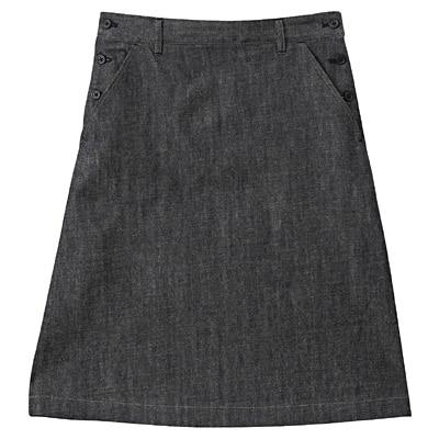オーガニックコットンセルビッチデニムスカート 婦人67・インディゴブルー