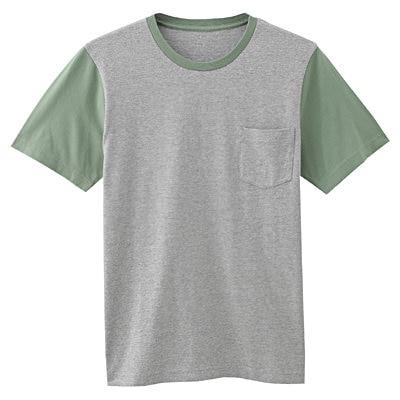 オーガニックコットン配色Tシャツ 紳士L・リーフグリーン