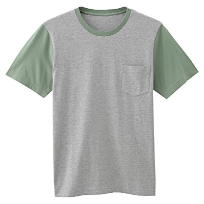 オーガニックコットン配色Tシャツ 紳士XL・リーフグリーン