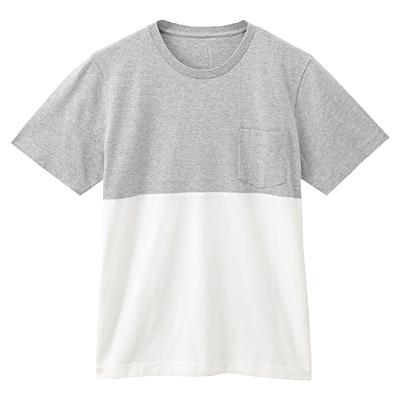 オーガニックコットン配色Tシャツ 紳士M・ライトシルバーグレー