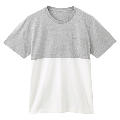 オーガニックコットン配色Tシャツ 紳士L・ライトシルバーグレー