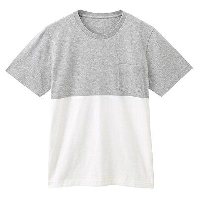 オーガニックコットン配色Tシャツ 紳士XL・ライトシルバーグレー