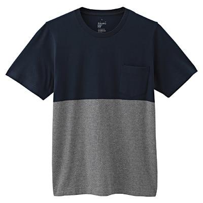オーガニックコットン配色Tシャツ 紳士L・ネイビー
