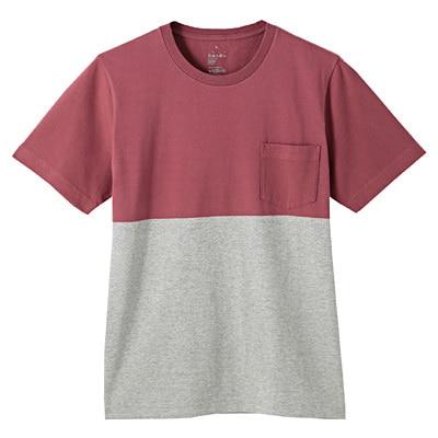 オーガニックコットン配色Tシャツ 紳士XL・バーガンディ