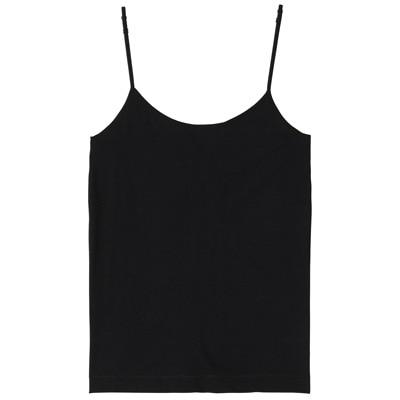 オーガニックコットン混ストレッチキャミソール 脇に縫い目のないインナー 婦人XL・黒