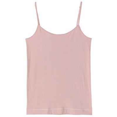 オーガニックコットン混ストレッチキャミソール 脇に縫い目のないインナー 婦人XL・ピンク