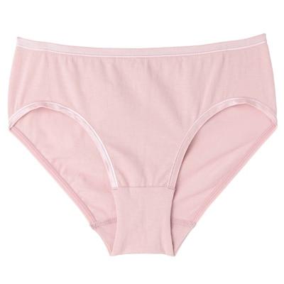 オーガニックコットン混ストレッチハイライズショーツ 脇に縫い目のない(えらべる) 婦人XL・ピンク