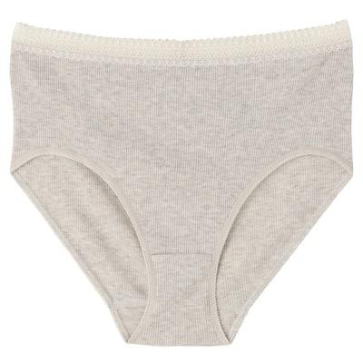 オーガニックコットンリブレース付ハイライズショーツ 脇に縫い目のない(えらべる) 婦人XL・グレー