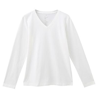 オーガニックコットンVネック長袖Tシャツ 婦人L・白