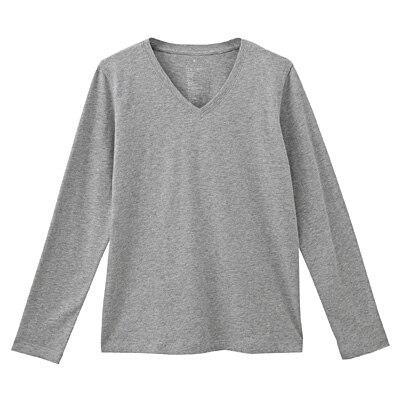 オーガニックコットンVネック長袖Tシャツ 婦人S・ライトグレー