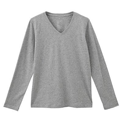オーガニックコットンVネック長袖Tシャツ 婦人XL・ライトグレー