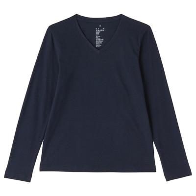 オーガニックコットンVネック長袖Tシャツ 婦人XL・ダークネイビー