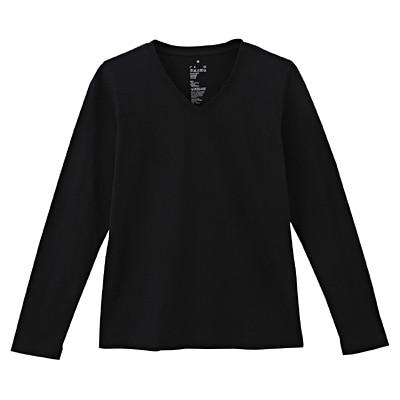 オーガニックコットンVネック長袖Tシャツ 婦人M・黒